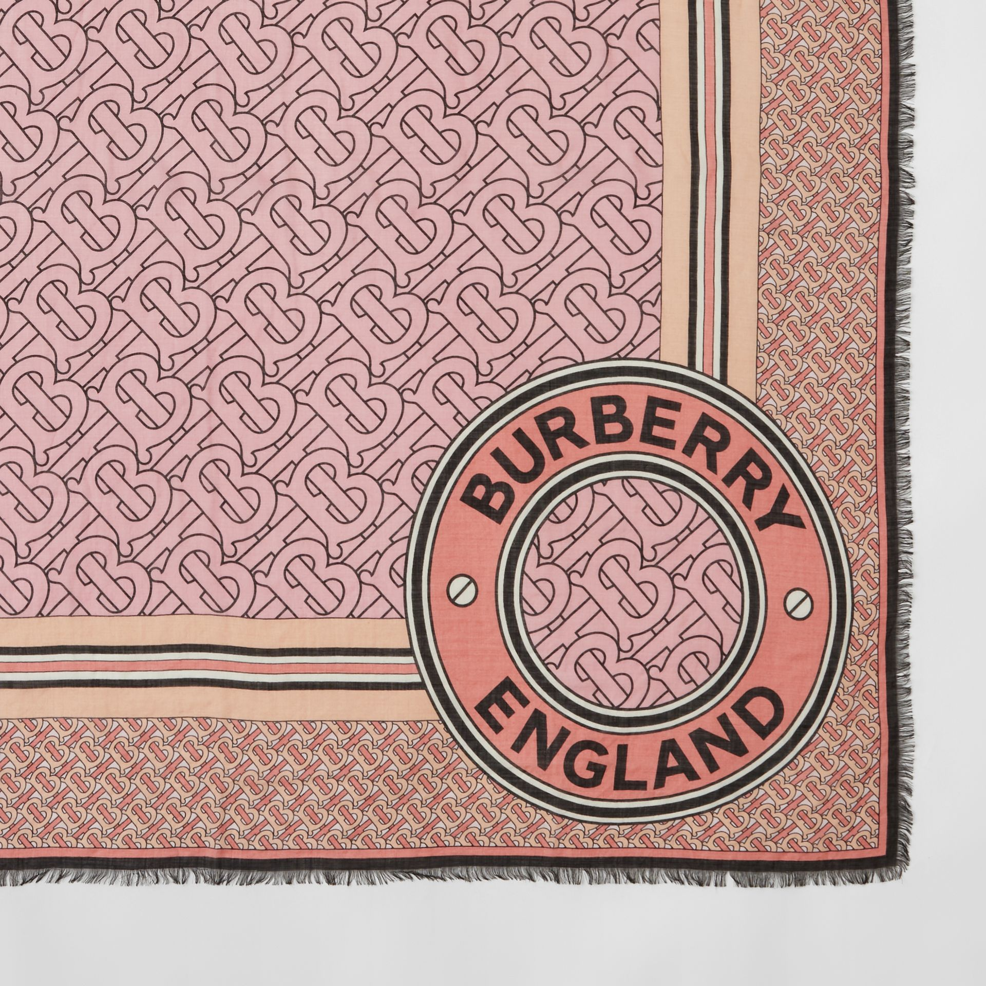 Monogram Print Wool Silk Large Square Scarf in Candy Pink | Burberry - gallery image 1