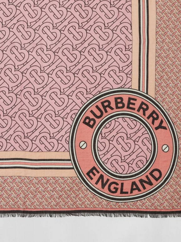Monogram Print Wool Silk Large Square Scarf in Candy Pink | Burberry - cell image 1