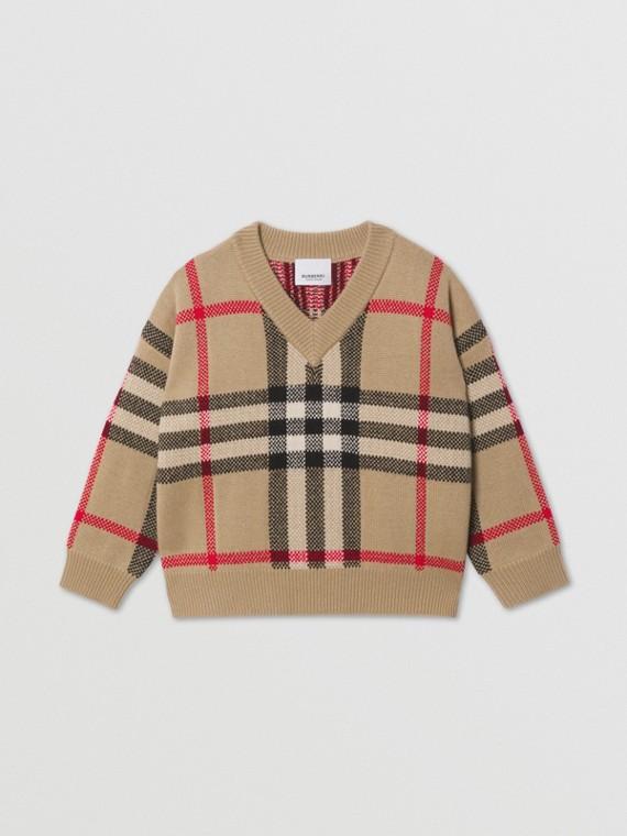 Pull en laine et cachemire check en intarsia (Beige D'archive)