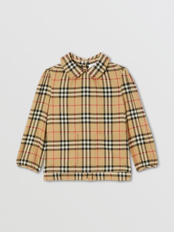 Peter Pan Collar Vintage Check Cotton Blouse