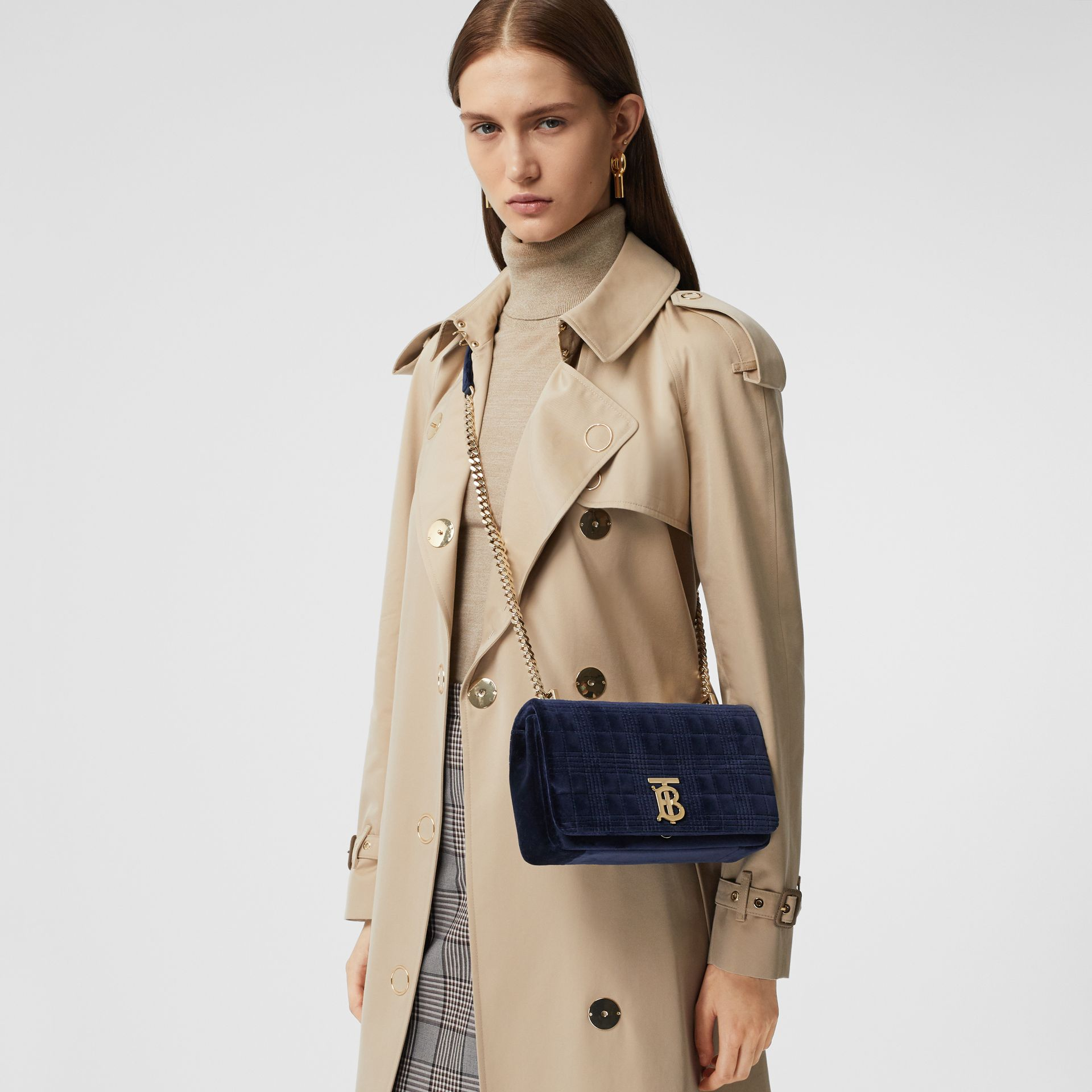 Small Quilted Velvet Lola Bag in Navy - Women | Burberry Australia - gallery image 2