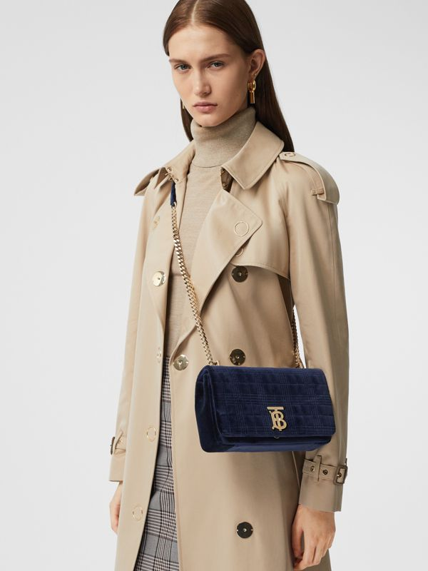 Small Quilted Velvet Lola Bag in Navy - Women | Burberry - cell image 2