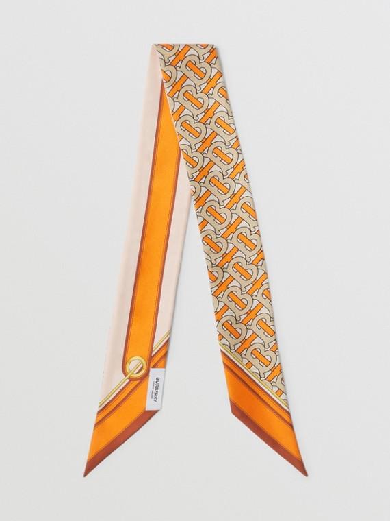 Schmaler Seidenschal mit Monogrammmuster und Burberry-Logo (Leuchtendes Orange)