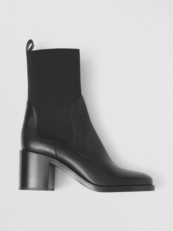 Leather Heeled Chelsea Boots in Black
