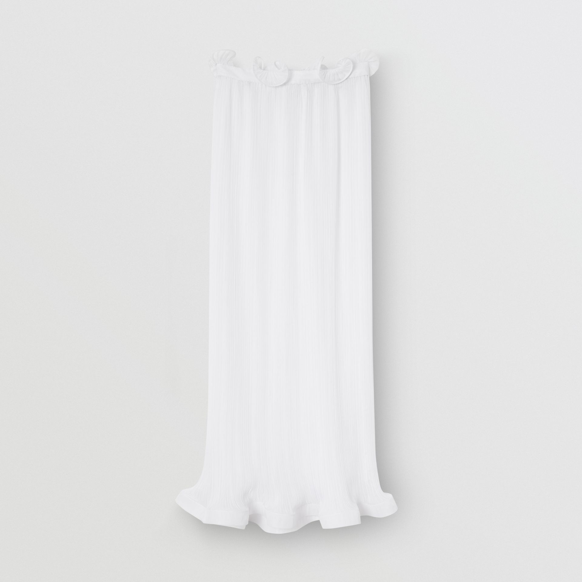 Custom Fit Ruffle Detail Chiffon Plissé Skirt in Optic White - Women | Burberry - gallery image 2