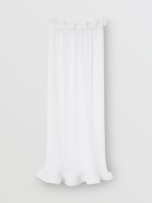 Custom Fit Ruffle Detail Chiffon Plissé Skirt in Optic White - Women | Burberry - cell image 2