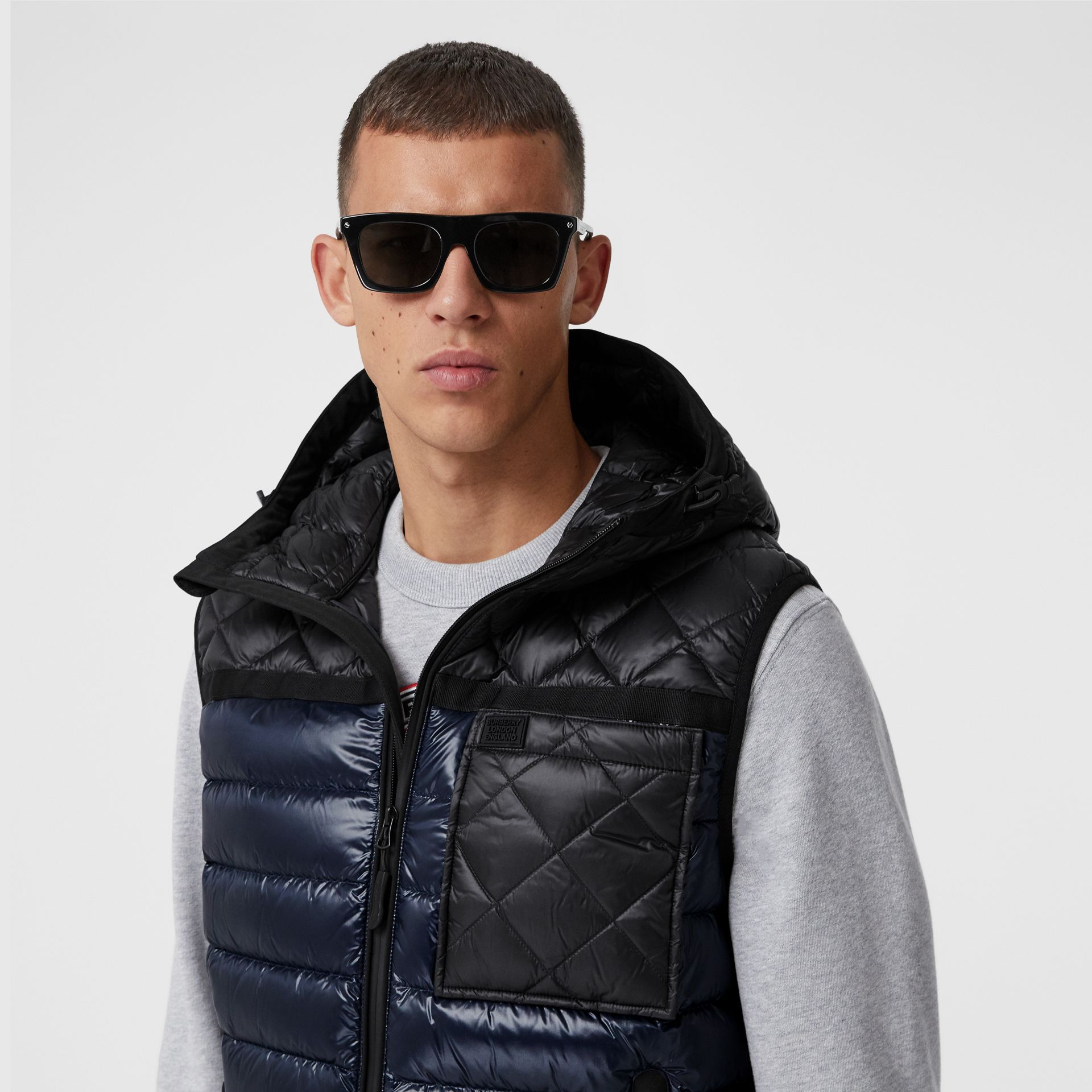 Diamond Quilted Panel Hooded Puffer Gilet in Midnight - Men | Burberry - gallery image 1