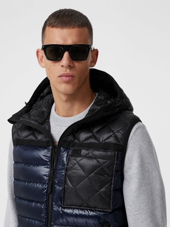Diamond Quilted Panel Hooded Puffer Gilet in Midnight - Men | Burberry - cell image 1