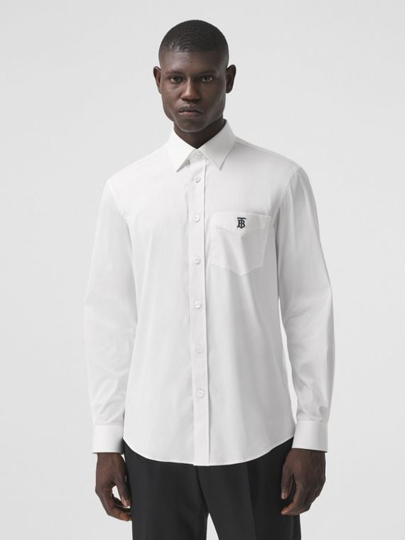 Monogram Motif Technical Cotton Shirt in White