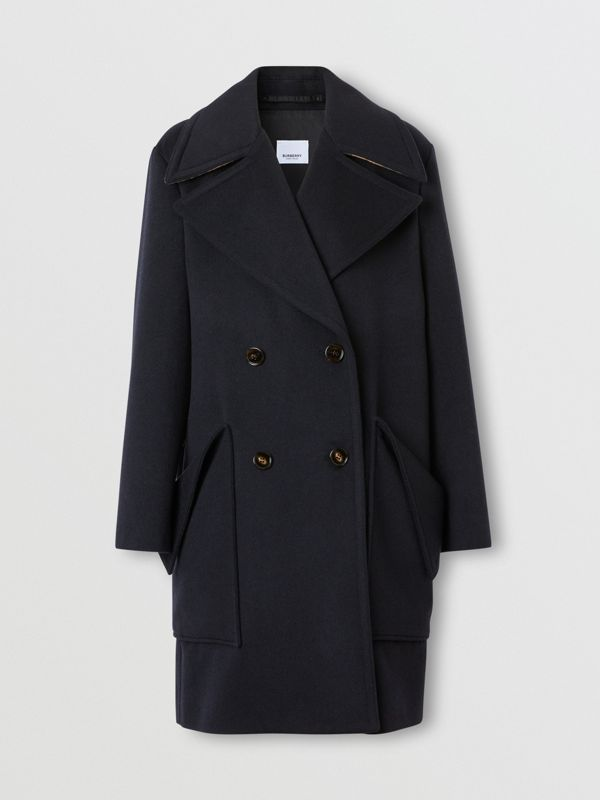 Pocket Detail Cashmere Pea Coat in Navy - Women | Burberry - cell image 3