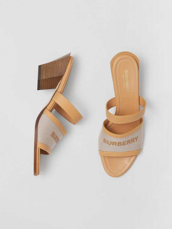 Logo Print Canvas and Leather Mules in Warm Sand/soft Fawn