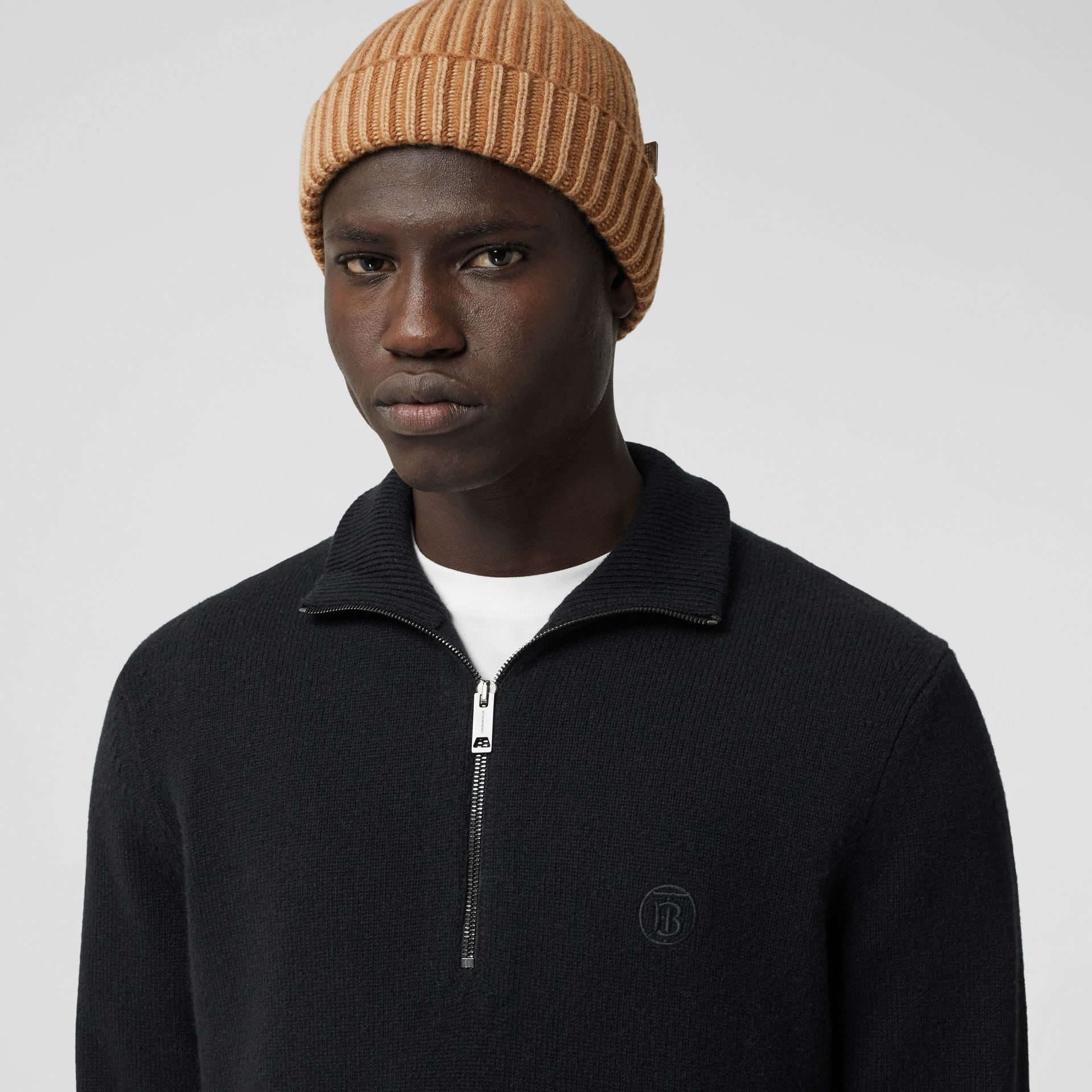 Monogram Motif Cashmere Funnel Neck Sweater in Black - Men | Burberry - gallery image 1