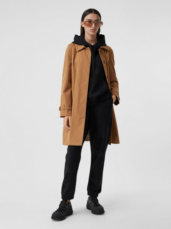 Cotton Gabardine Belted Swing Coat in Nutmeg
