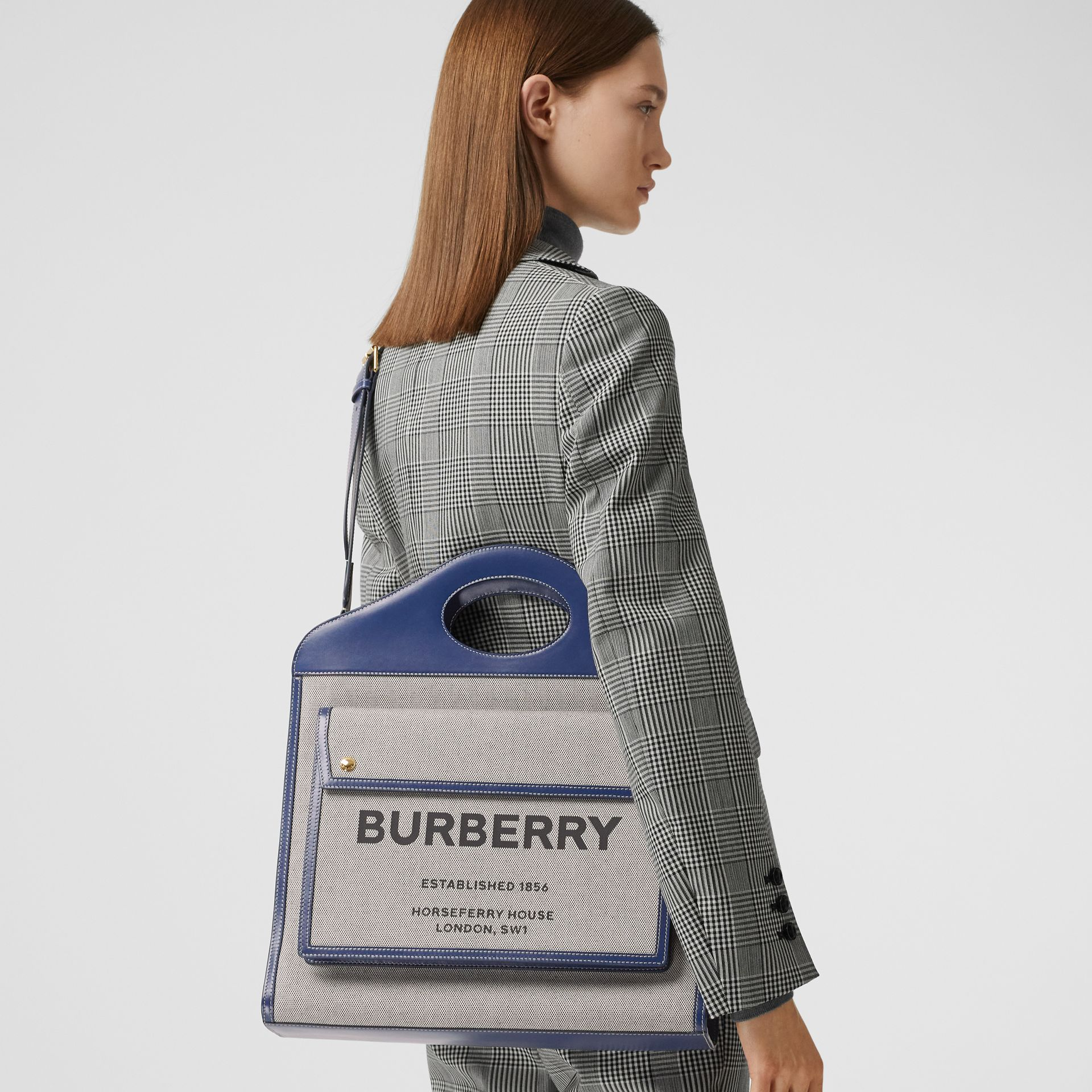 Medium Two-tone Canvas and Leather Pocket Bag in Ink Navy - Women | Burberry - gallery image 2