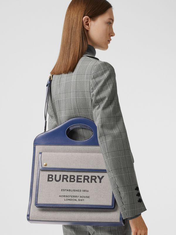 Medium Two-tone Canvas and Leather Pocket Bag in Ink Navy - Women | Burberry United Kingdom - cell image 2