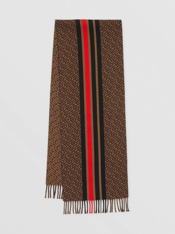 Striped Monogram Wool Cotton Jacquard Scarf in Bridle Brown