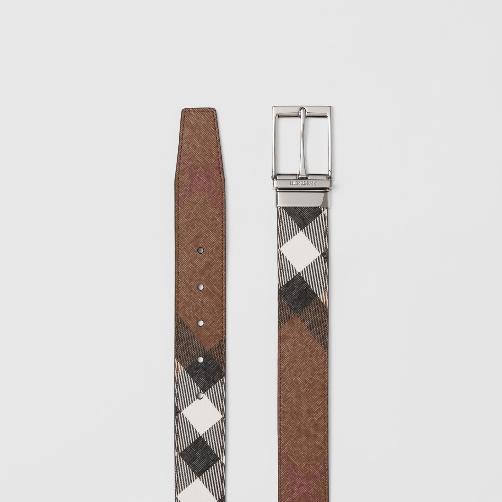 Reversible Check E-canvas and Leather Belt in Dark Birch Brown/black - Men | Burberry - gallery image 7