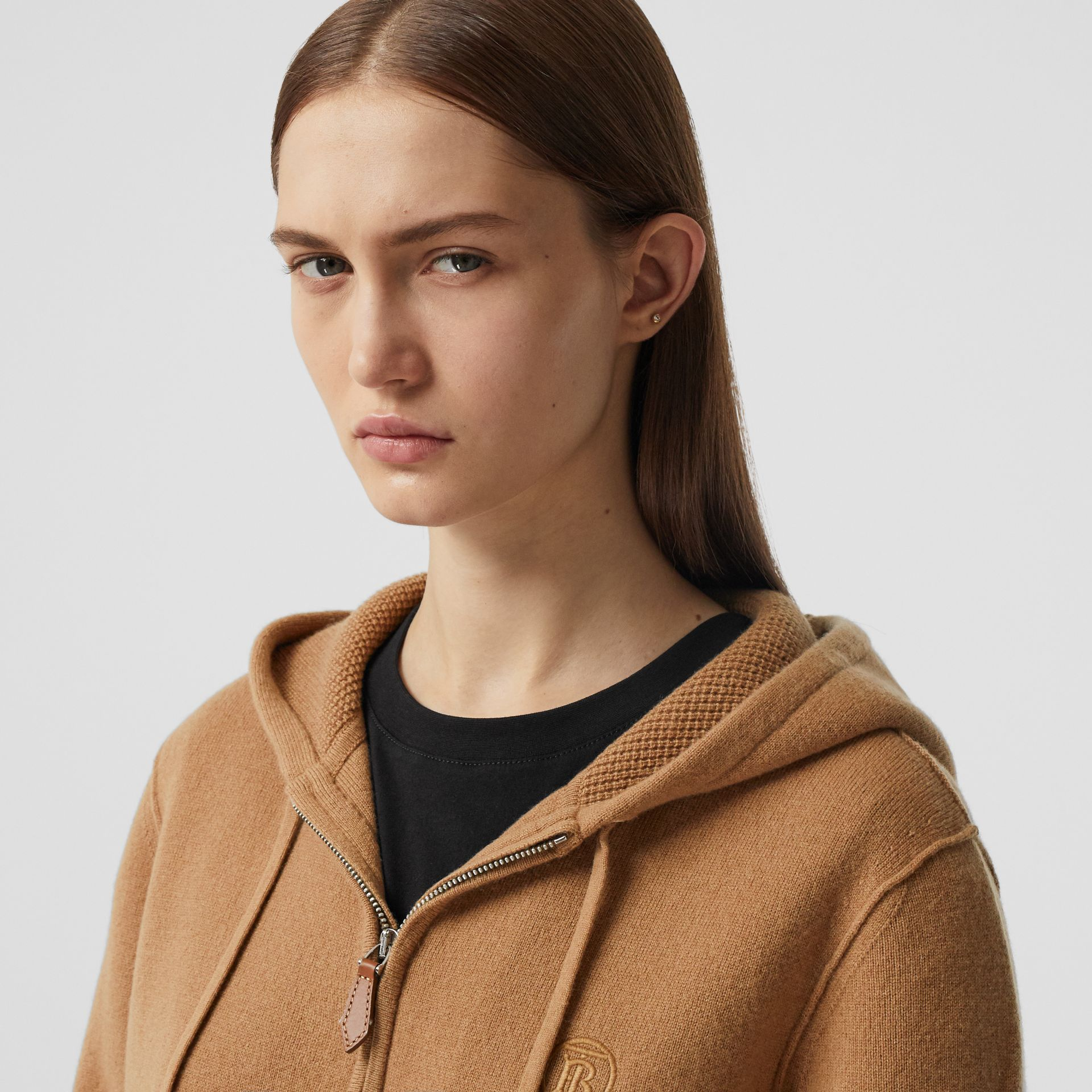 Monogram Motif Cashmere Blend Hooded Top in Camel - Women | Burberry - gallery image 1