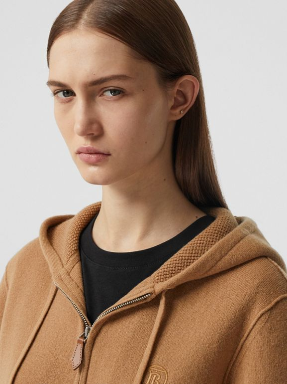 Monogram Motif Cashmere Blend Hooded Top in Camel - Women | Burberry - cell image 1