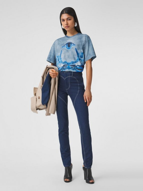 Shark Print Cotton Oversized T-shirt in Ink Blue