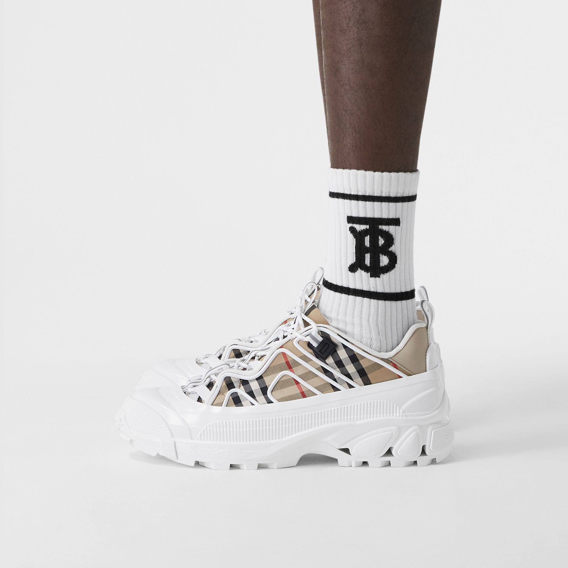 Vintage Check Cotton And Leather Arthur Sneakers in Archive Beige/white | Burberry - gallery image 2