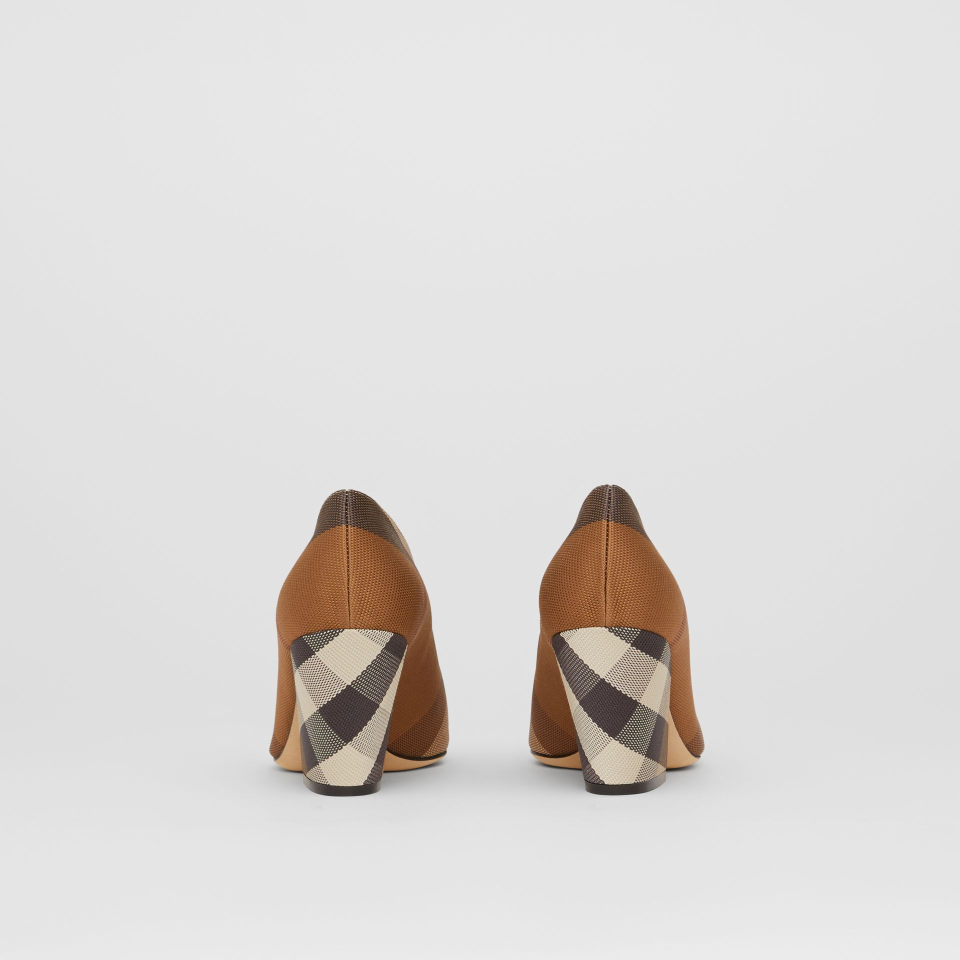 Check Technical Cotton Pumps in Birch Brown - Women | Burberry - gallery image 4