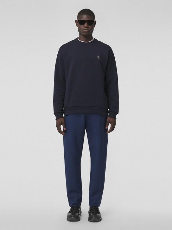 Baumwollsweatshirt mit appliziertem Monogrammmotiv (Kohlblau)