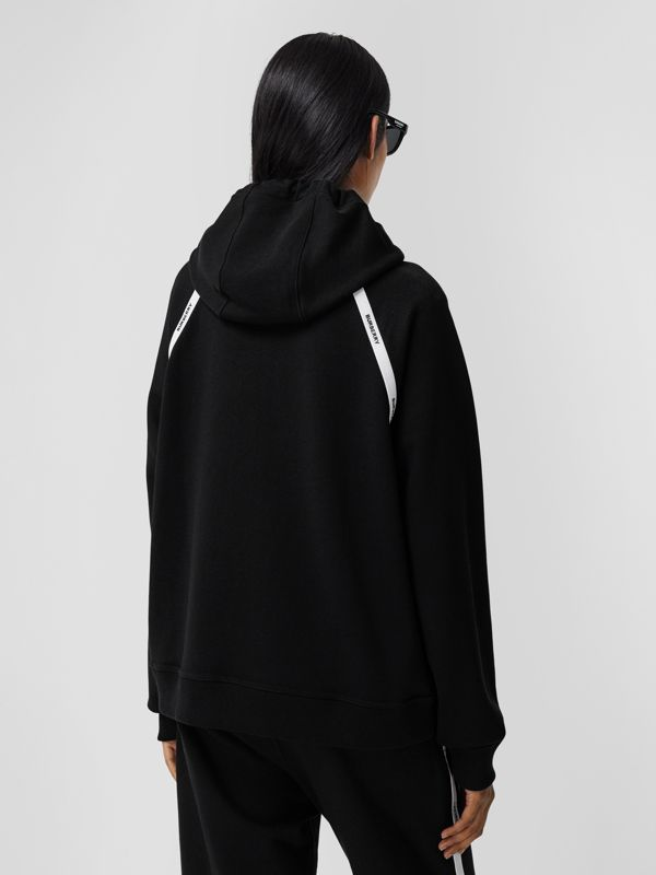 Logo Tape Cotton Oversized Hoodie in Black - Women | Burberry - cell image 2