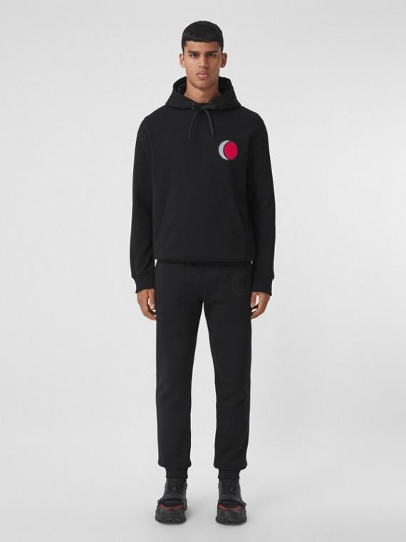 Badge Appliqué Cotton Hoodie in Black