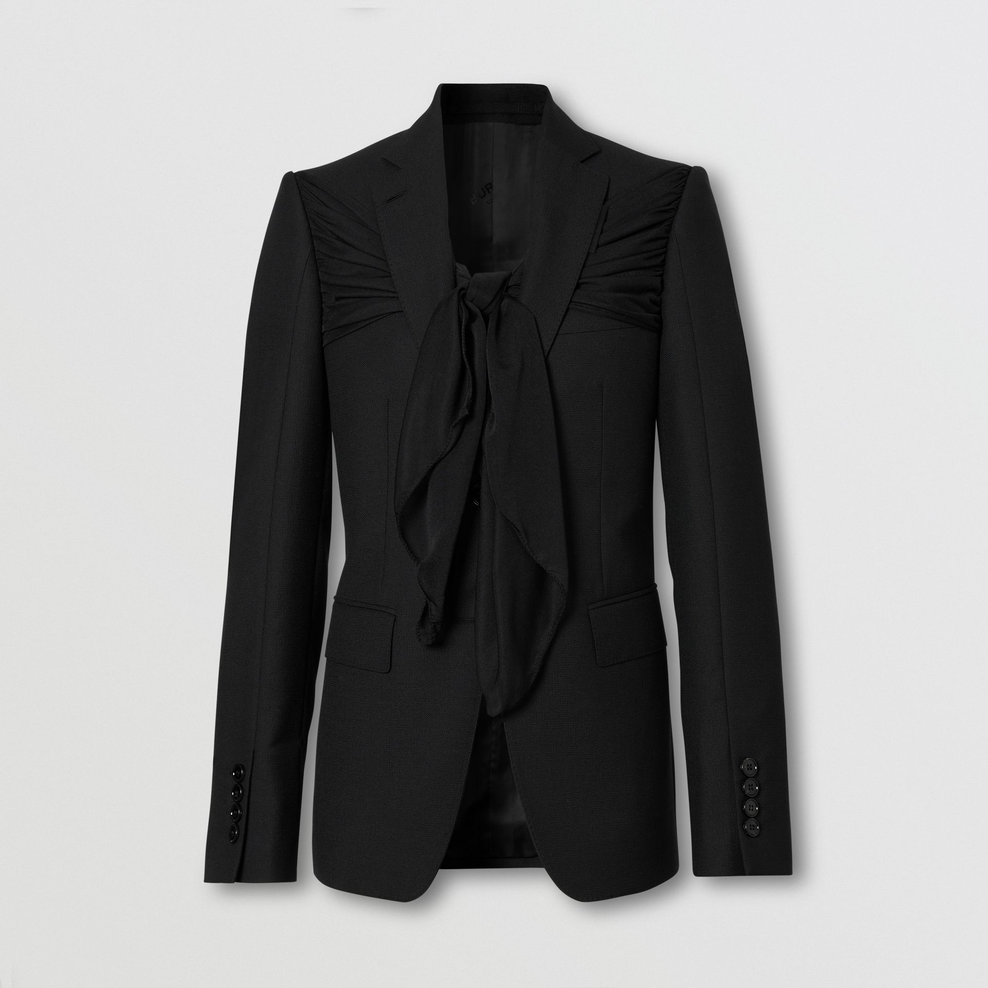 Jersey Sash Detail Wool Tailored Jacket in Black - Women | Burberry - gallery image 3