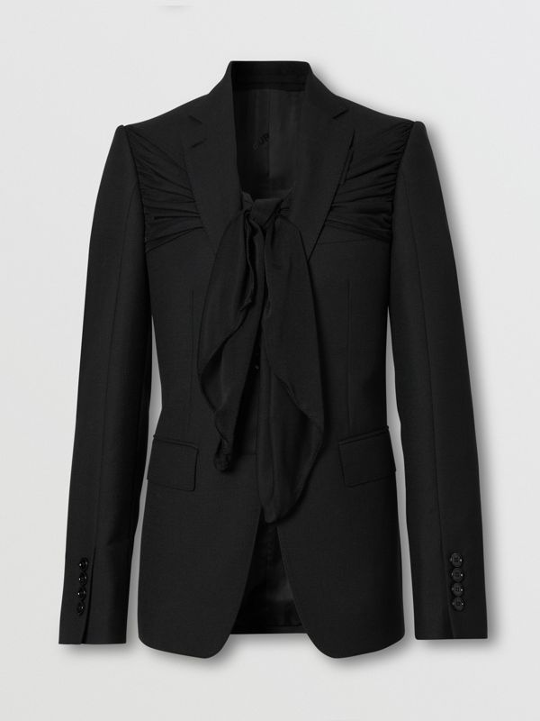 Jersey Sash Detail Wool Tailored Jacket in Black - Women | Burberry - cell image 3