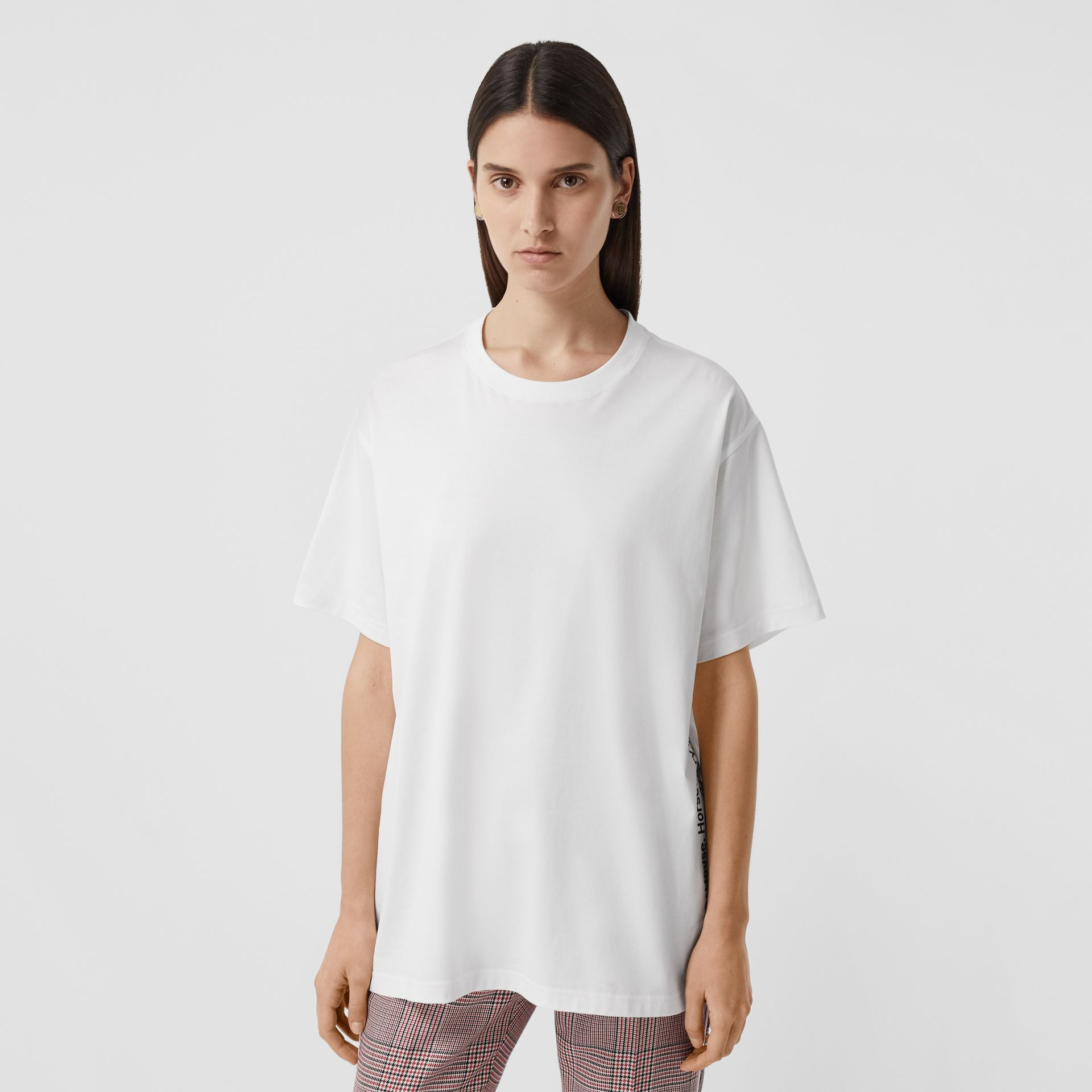 Coordinates Print Cotton Oversized T-shirt in White - Women | Burberry - gallery image 2