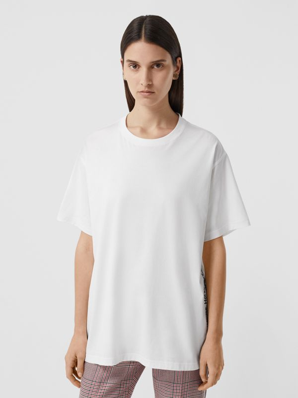 Coordinates Print Cotton Oversized T-shirt in White - Women | Burberry - cell image 2