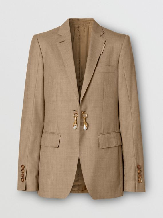 Link Detail Wool Cashmere Blazer in Pecan Melange