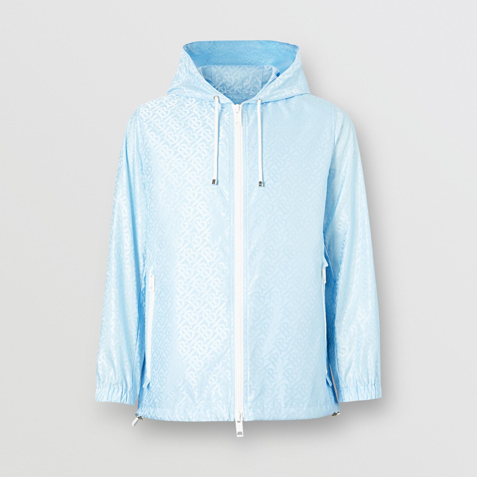 Monogram ECONYL® Jacquard Hooded Jacket in Pale Blue - Women   Burberry - gallery image 0