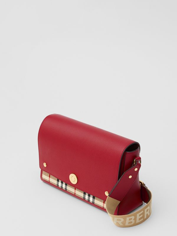 Leather and Vintage Check Note Crossbody Bag in Dark Carmine - Women | Burberry United States - cell image 3