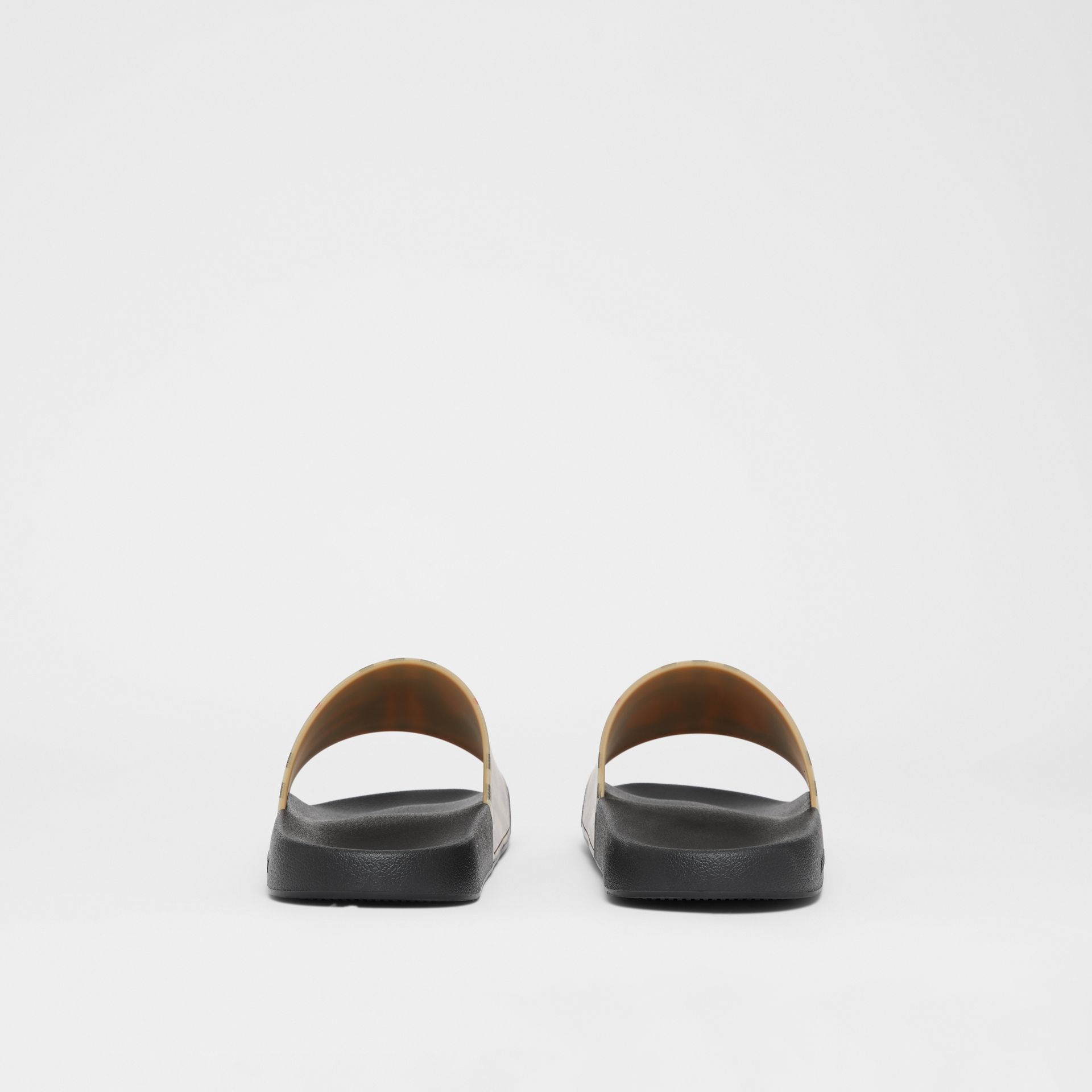 Love Print Vintage Check Slides in Archive Beige - Men | Burberry - gallery image 3