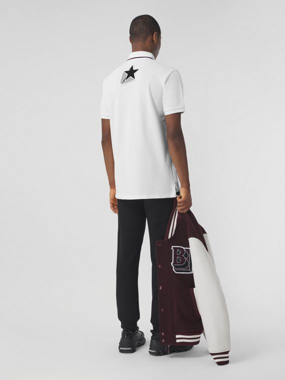 Letter Graphic Cotton Piqué Oversized Polo Shirt in White