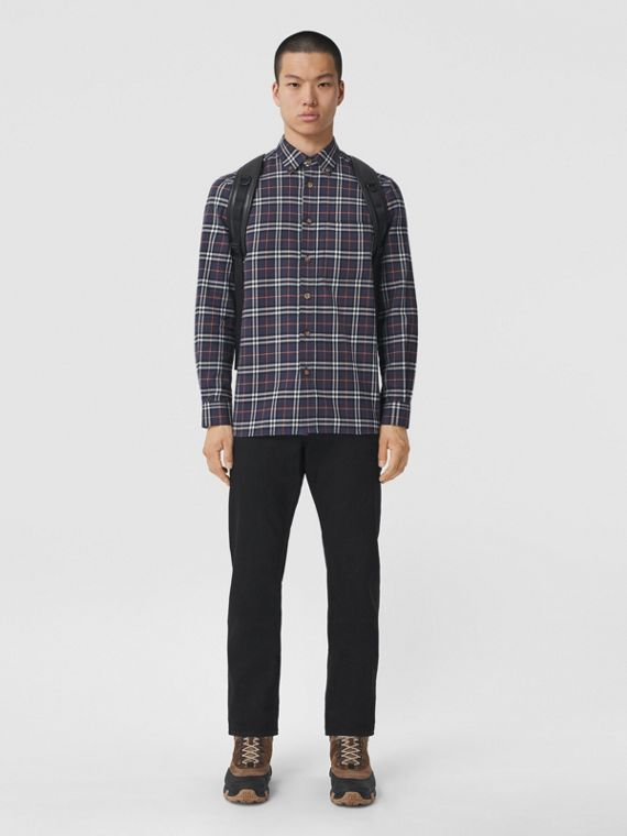 Button-down Collar Check Cotton Flannel Shirt in Ink Navy
