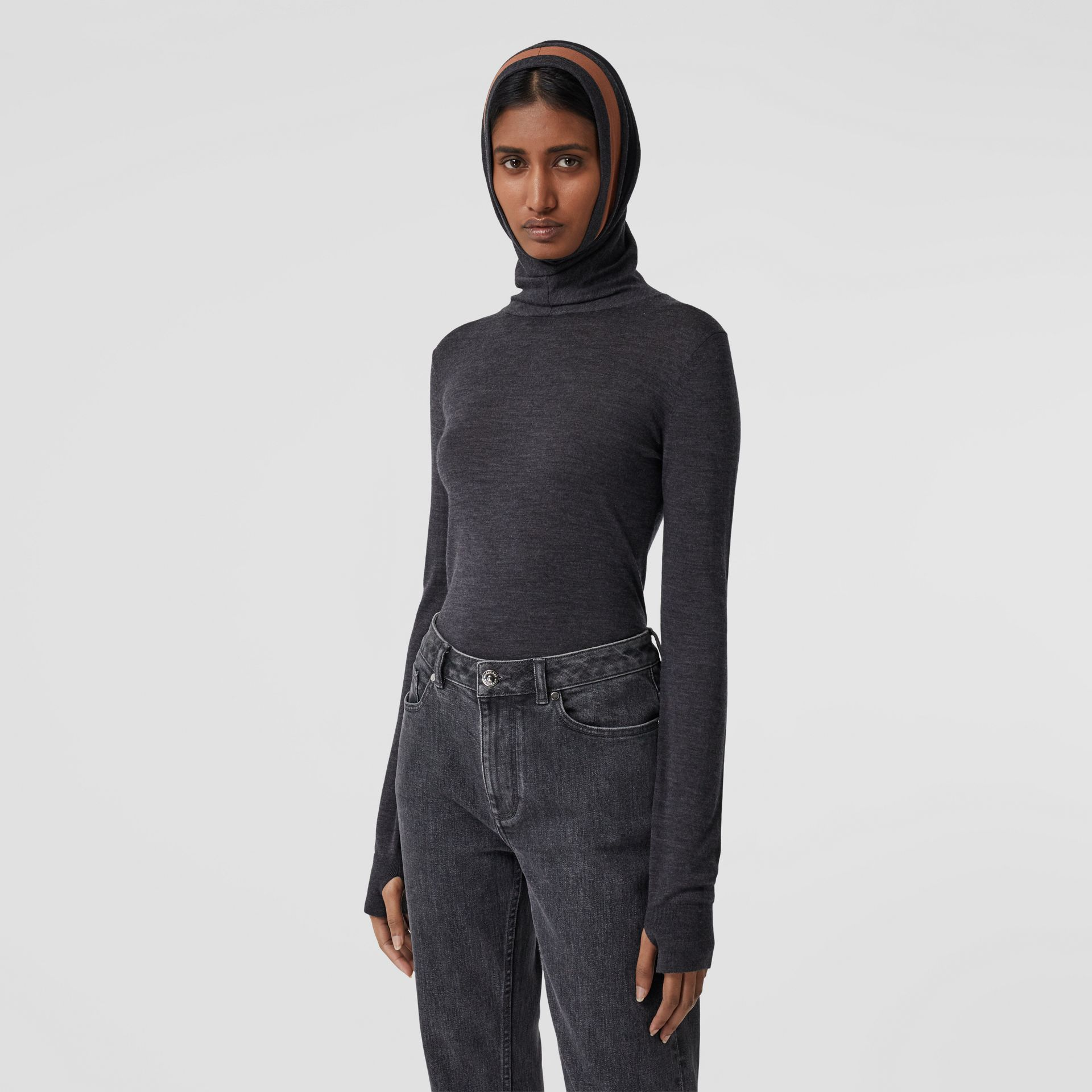 Stripe Detail Merino Wool Hooded Top in Dark Grey Melange - Women | Burberry - gallery image 6