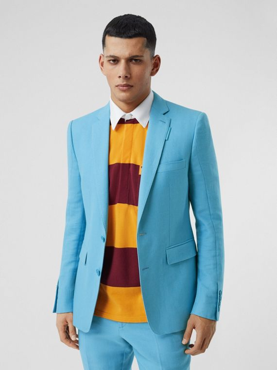 English Fit Wool Ramie Tailored Jacket in Blue Topaz