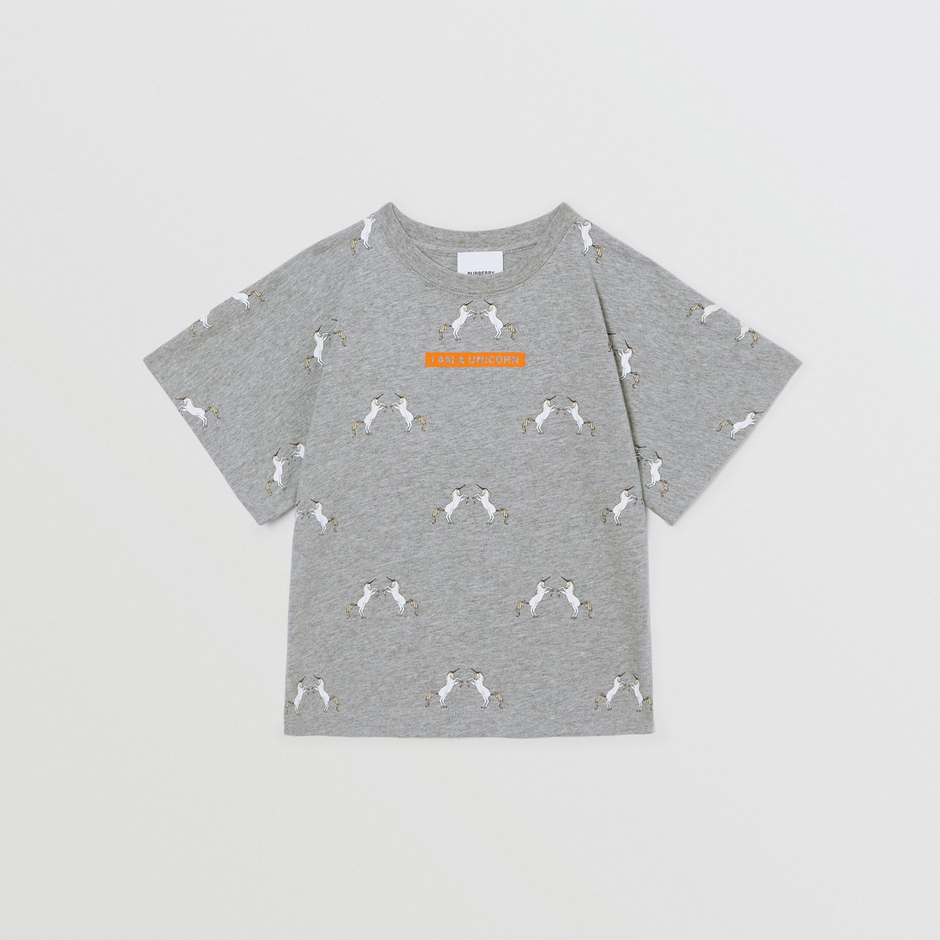 Unicorn Slogan Print Cotton T-shirt in Grey Melange | Burberry United Kingdom - gallery image 0