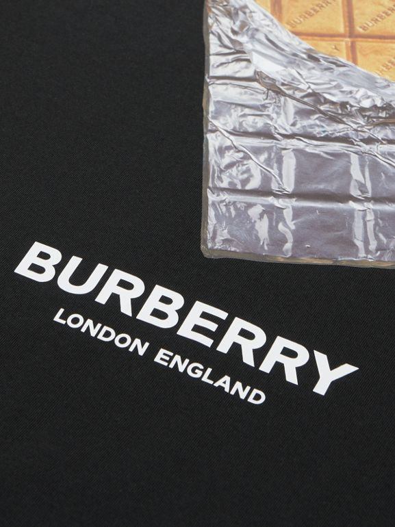 Confectionery Print Cotton T-shirt in Black | Burberry - cell image 1