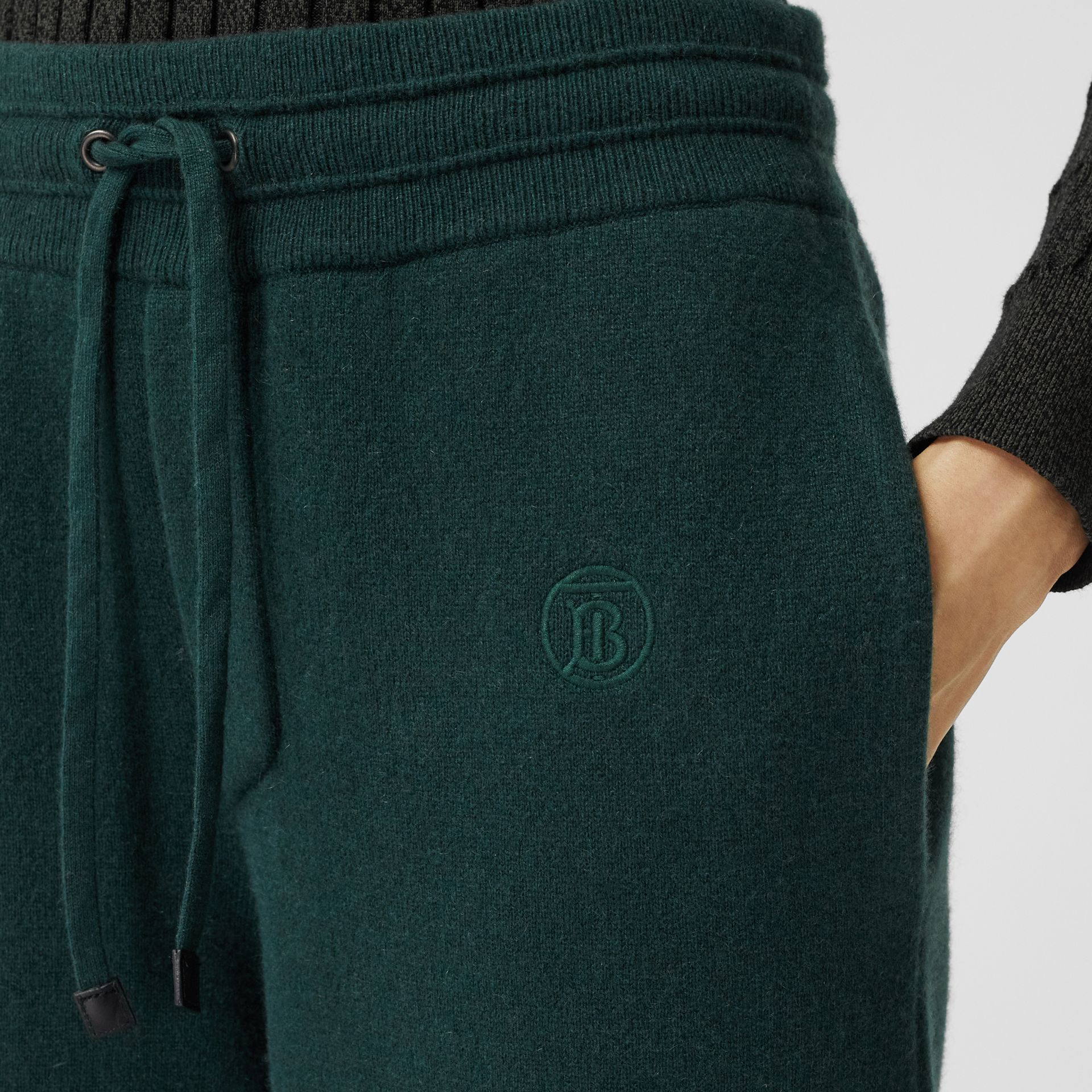 Monogram Motif Cashmere Blend Jogging Pants in Bottle Green - Women | Burberry - gallery image 1
