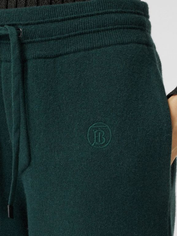 Monogram Motif Cashmere Blend Jogging Pants in Bottle Green - Women | Burberry - cell image 1