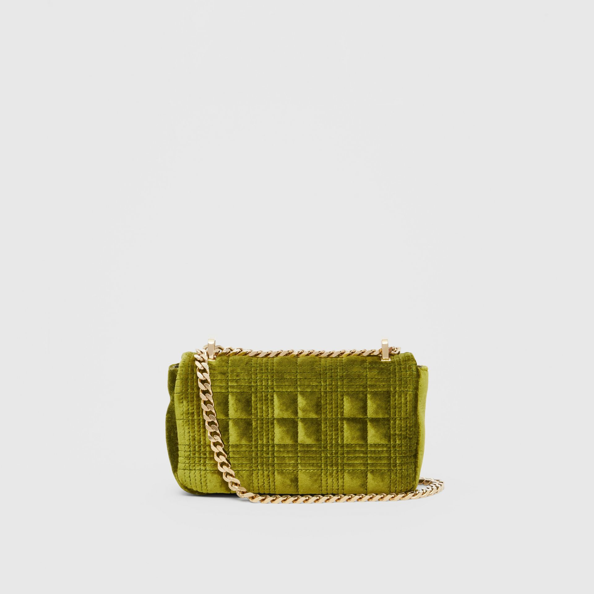 Mini Quilted Velvet Lola Bag in Juniper Green - Women | Burberry - gallery image 7