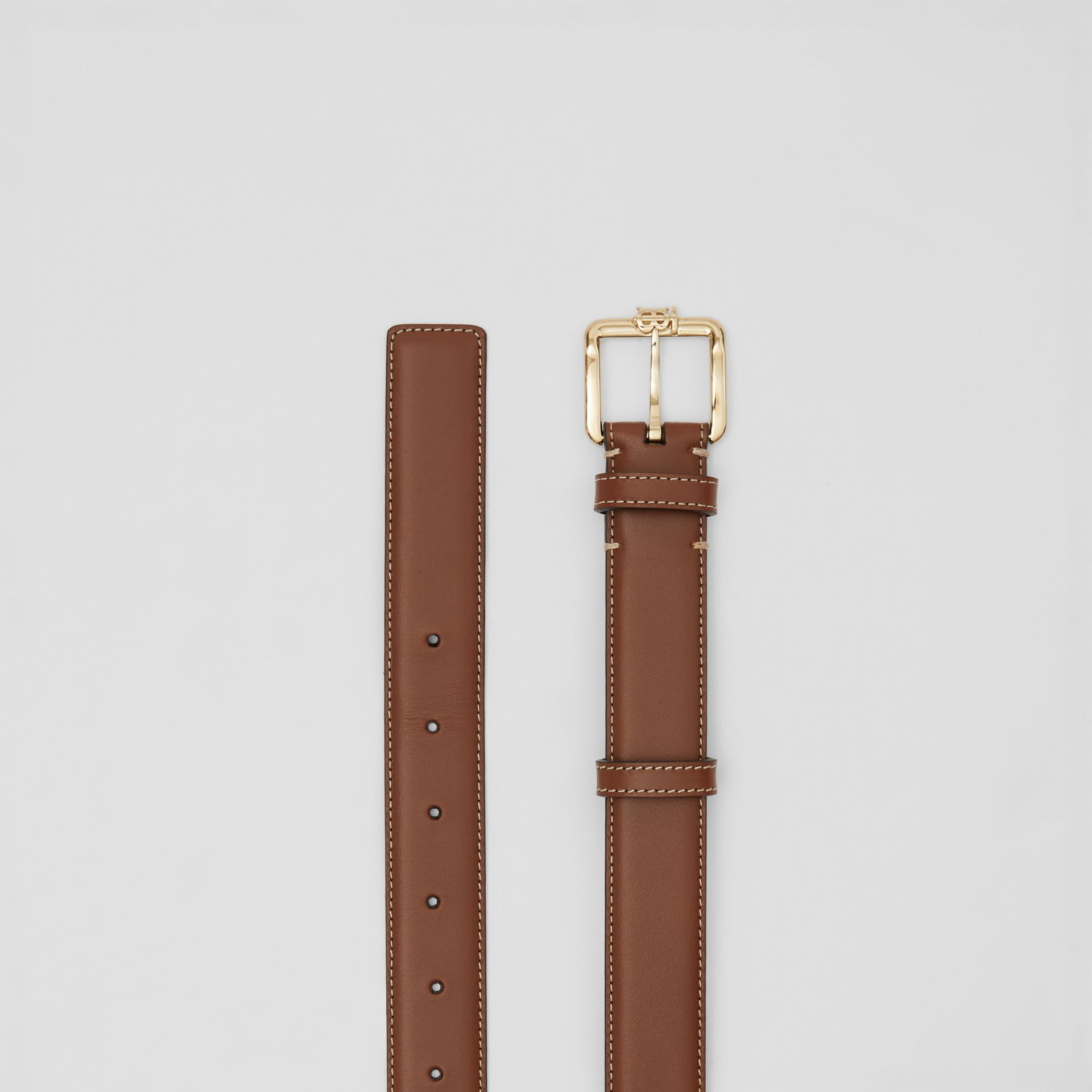 Monogram Motif Topstitched Leather Belt in Tan/light Gold - Women | Burberry - gallery image 5