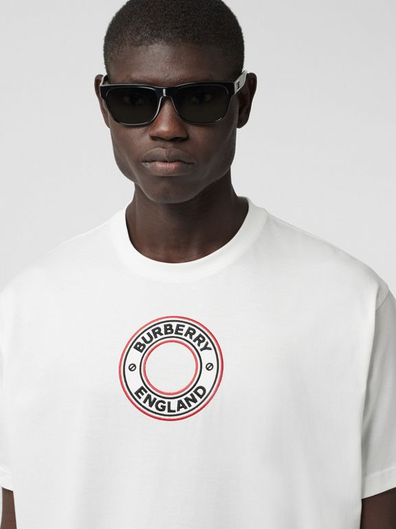 Logo Graphic Appliqué Cotton Oversized T-shirt in White - Men | Burberry - cell image 1
