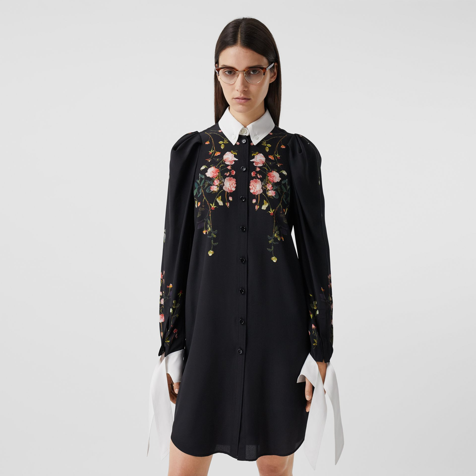 Rose Print Silk Crepe De Chine Shirt Dress in Black - Women | Burberry - gallery image 6