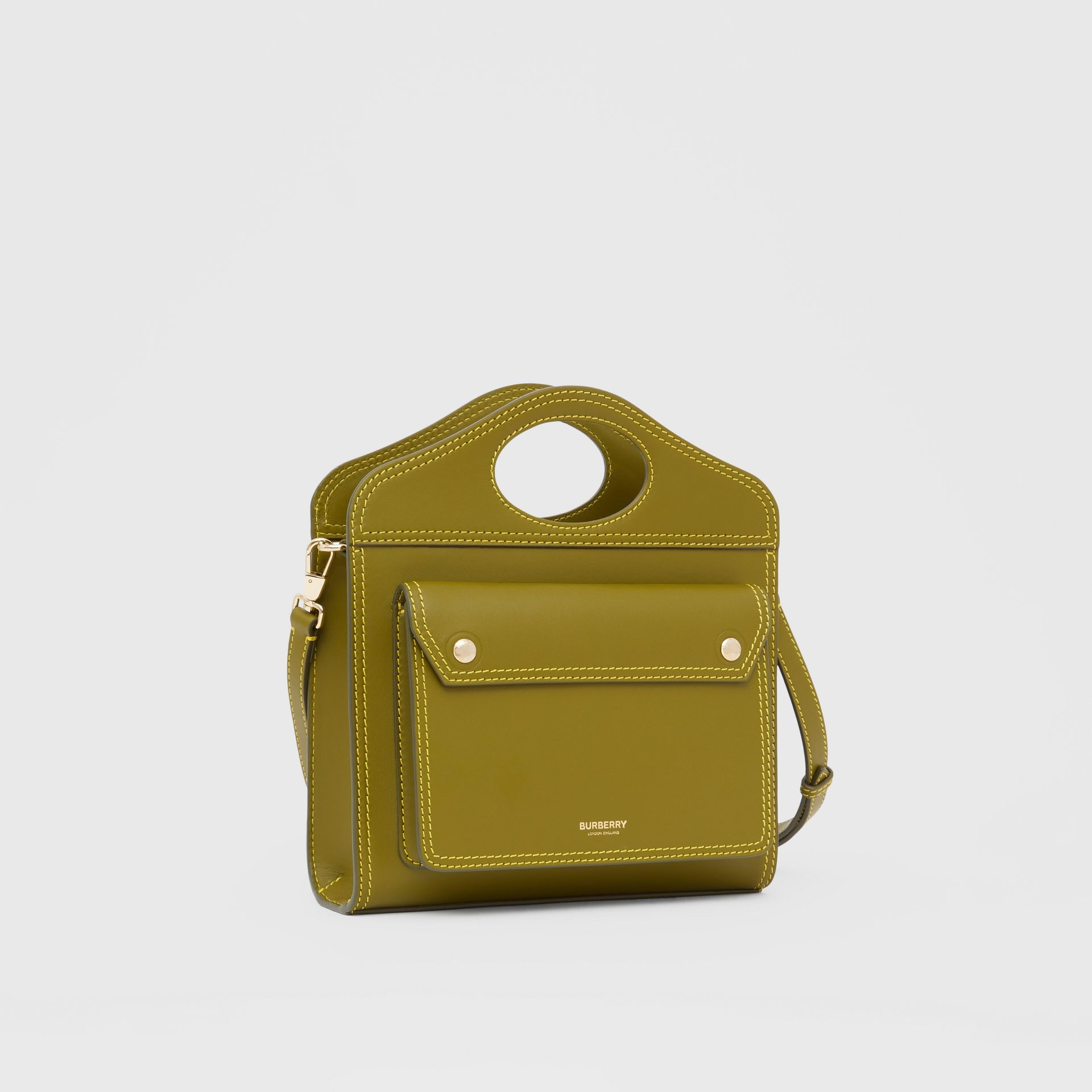 Mini sac Pocket en cuir surpiqué (Vert Genévrier) - Femme | Burberry Canada - photo de la galerie 6